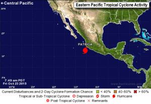 Patricia - situazione in corso rappresentata graficamente sul sito dell'Hurricane Center of Miami