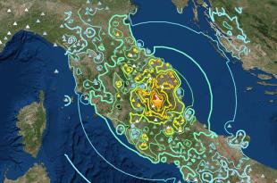 Mappa terremoto monti Rietini del 24 agosto 2016