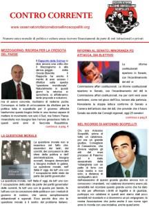 """Online il numero di agosto del mensile """"Contro Corrente"""""""