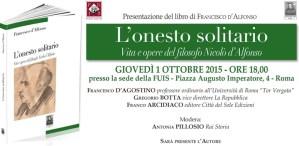"""Roma – Giovedì 1 Ottobre presentazione del libro """"L'onesto solitario"""""""