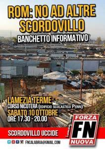 Banchetto informativo di Forza Nuova sulla tematica Rom a Lamezia Terme