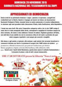 """Domenica 29 Novembre """"Giornata nazionale del tesseramento ANPI"""""""