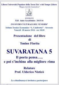 """Soverato – Venerdì 18 Marzo presentazione libro """"Suveratana 5″"""
