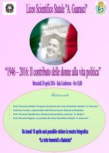 Soverato – Mercoledì 20 Aprile incontro sulle donne nella vita politica