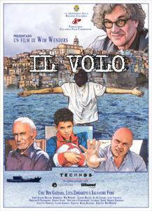 manifesto IL VOLO di Wim Wenders - sfondo Badolato borgo