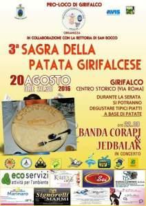 Girifalco – Sabato 20 Agosto la III Edizione della Sagra della Patata