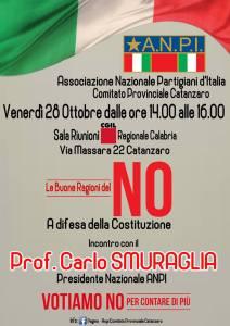Iniziative ANPI Catanzaro per il No al Referendum del 4 dicembre