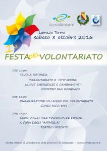 Sabato 8 ottobre la prima Festa del Volontariato a Lamezia Terme