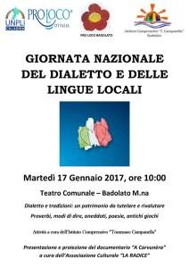 Il 17 gennaio a Badolato di Calabria la giornata nazionale del dialetto