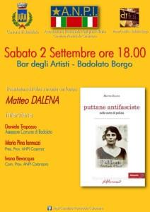 """Sabato 2 Settembre appuntamento ANPI al """"Bar degli artisti"""" di Badolato Borgo"""