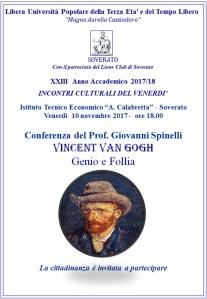 """Soverato – Venerdì 10 Novembre la conferenza """"Vincent Van Gogh, Genio e Follia"""""""