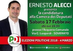 Soverato – Ernesto Alecci presenta la candidatura alla Camera dei Deputati
