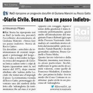Calabria, Rai Tre ripropone un pregevole docufilm di Giuliana Mancini su Rocco Gatto