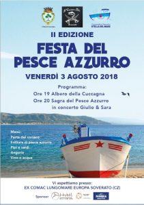 Soverato – Venerdì 3 Agosto la seconda edizione della Festa del Pesce Azzurro