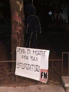 """Inquietante cartello e manichino di Forza Nuova a Catanzaro: """"pena di morte per gli stupratori"""""""