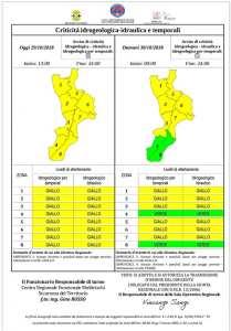 Allerta Meteo della Protezione Civile, piogge o temporali isolati in Calabria