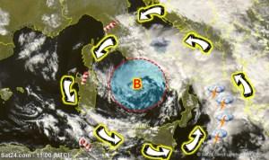 Nel mar Tirreno un ciclone innescato da goccia fredda, allarme alluvioni al Sud