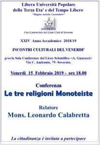 """Soverato – Venerdì 15 Febbraio la conferenza """"Le tre religioni Monoteiste"""""""