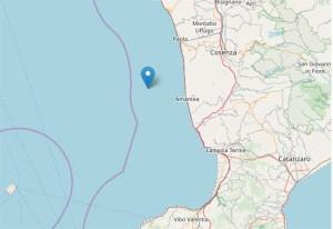Scossa di terremoto a largo della costa calabra occidentale