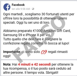 "Truffe online con falsi ""Amazon Gift Card"" da 1000 euro, Samsung S9 e iPhone X."