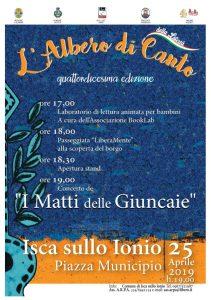 Giovedì 25 aprile a Isca sullo Ionio la XIV edizione dell'Albero di Canto