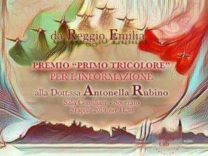"""Soverato – Premio """"Primo del tricolore"""" di Reggio Emilia alla giornalista Antonella Rubino"""