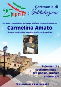 """Il 25 Aprile a Badolato borgo l'intitolazione del """"Belvedere"""" di Piazza Castello a Carmelina Amato"""