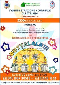 """Lunedì 29 Aprile a Satriano Marina lo spettacolo """"Buttalalà"""""""