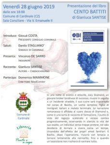 """Venerdì 28 Giugno a Cardinale la presentazione del libro """"Cento Battiti"""""""