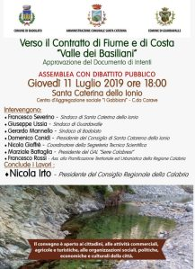 """Santa Caterina Jonio – Assemblea sul Contratto di Fiume e di Costa """"La Valle dei Basiliani"""""""