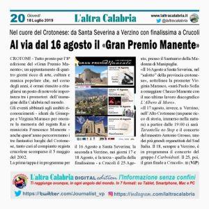 Gran Premio Manente 2019 al via il 16 agosto da Santa Severina