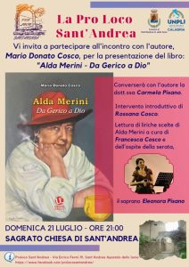 """Sant'Andrea Jonio – Domenica 21 luglio presentazione del libro """"Alda Merini – da Gerico a Dio"""""""