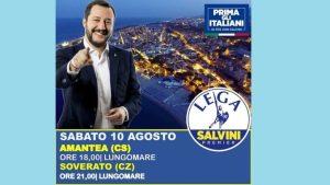 Il ministro Matteo Salvini sabato 10 agosto sul lungomare di Soverato