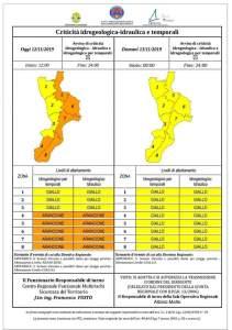 Allerta meteo – Avviso di criticità emesso dalla Protezione civile per la Calabria