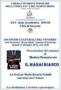 """Soverato – Venerdì 13 Dicembre la presentazione del romanzo """"Il Masai Bianco"""""""