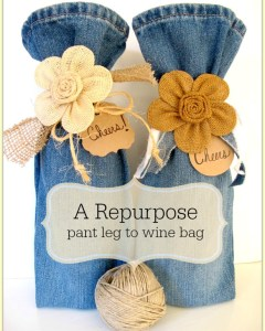 Repurpose Old Jeans Into Wine Bag's