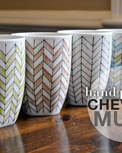 Hand Painted Chevron Mugs