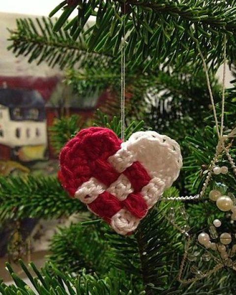 Crochet Woven Christmas Heart