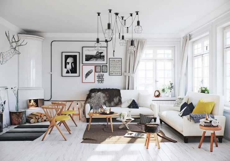 déco-salon-scandinave-cheminée-angle-suspensions-design-faux-trophée