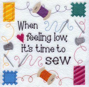 when feeling low sew
