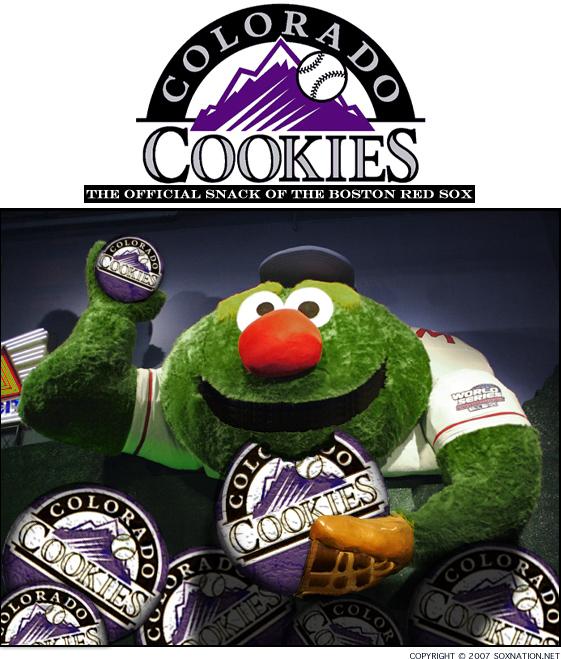 Wally the Green Monster eats Colorado's cookies
