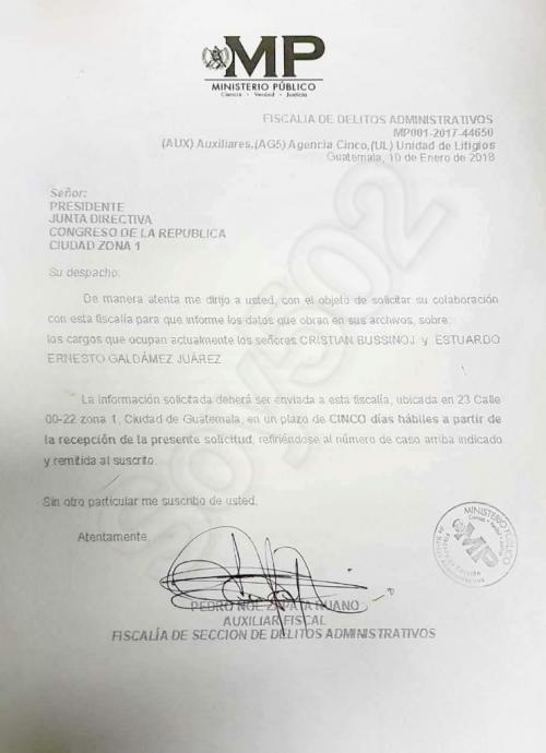 Esta es la solicitud de información que presentó el MP al Congreso solicitando información del Primer Secretario, Ernesto Galdámez. (Foto: Soy502)