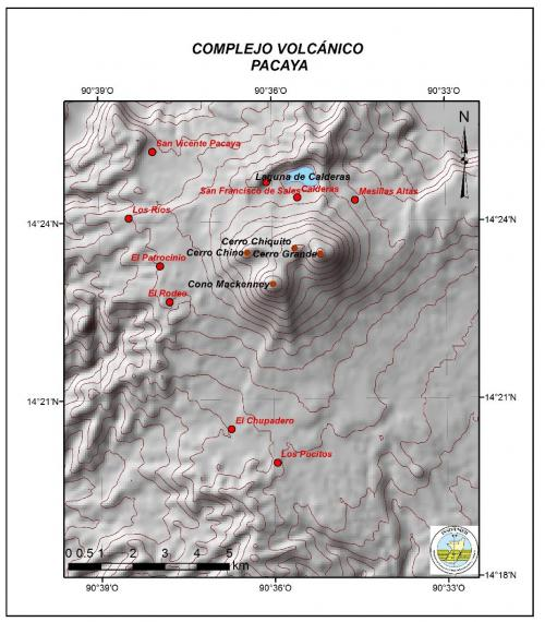 Este mapa elaborado por el INSIVUME ilustra y ubica a la comunidades que se encuentran cerca del volcán de Pacaya.