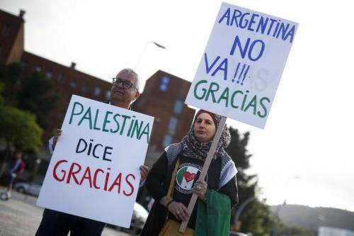La comunidad palestina envió sus mensajes de agradecimiento por la decisión tomada. (Foto: Pau Barrena/AFP)