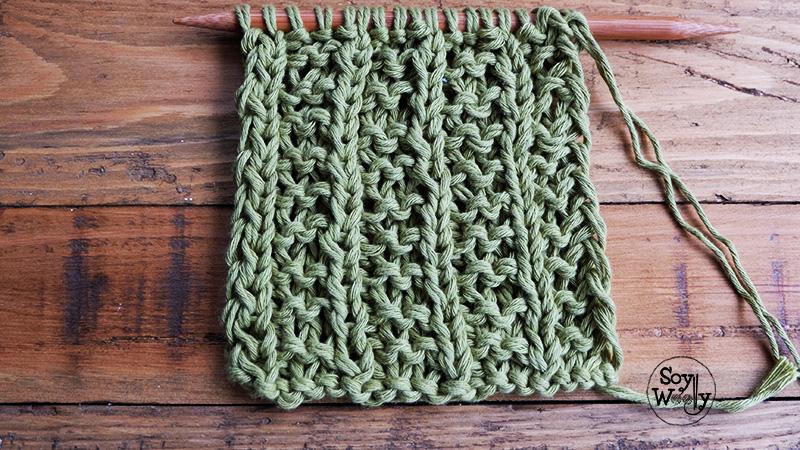 Como tejer el falso punto ingles dos agujas tricot calceta-Soy Woolly