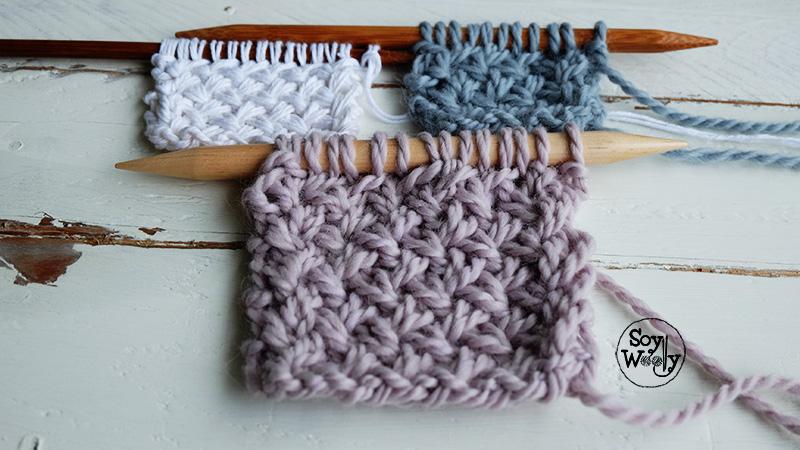 Punto de cesta cruzado tejido en dos agujas palillos soy - Hacer punto con dos agujas para principiantes ...