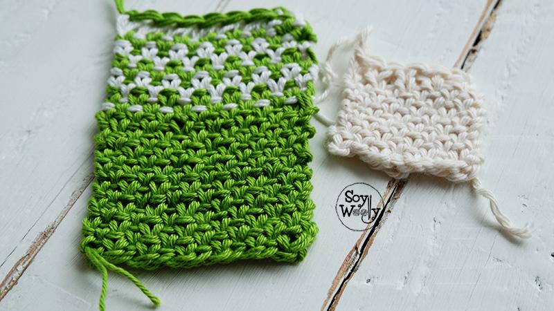 Punto de lino en uno y dos colores dos agujas soy woolly - Puntos de dos colores a dos agujas ...