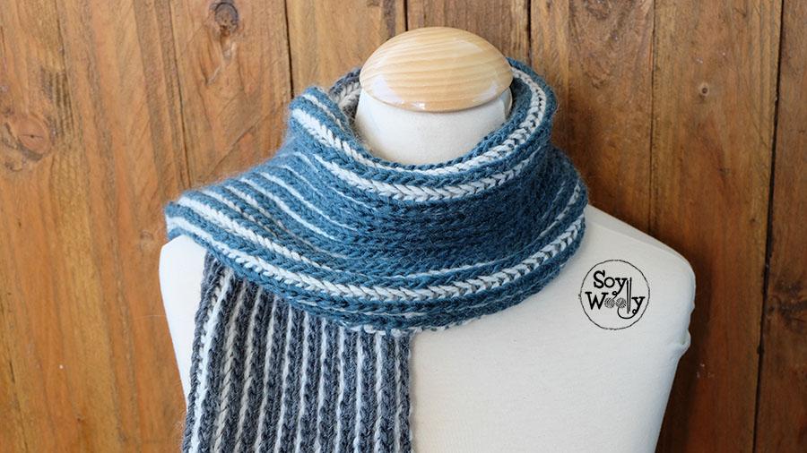 como tejer bufanda de hombre woolly