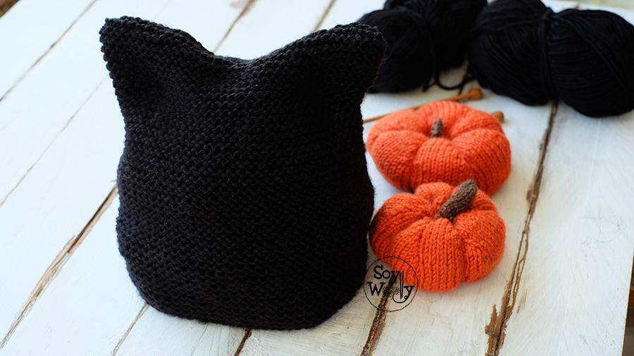 Como tejer Gorro orejas de gato Halloween-Soy Woolly