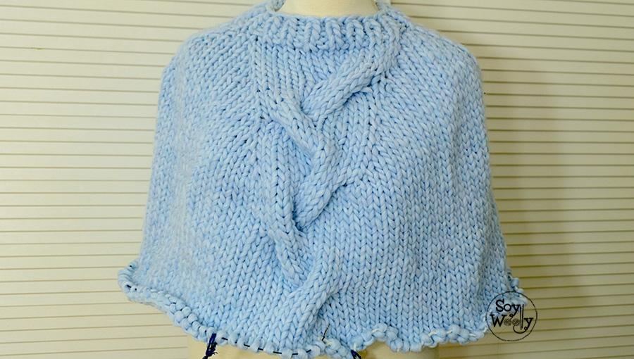 Tutorial poncho con trenza tejido en dos agujas calceta tricot